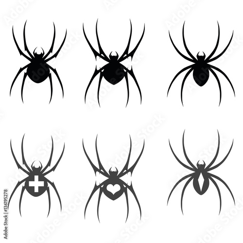 Set of vector black silhouette spider icon isolated on white background Wallpaper Mural
