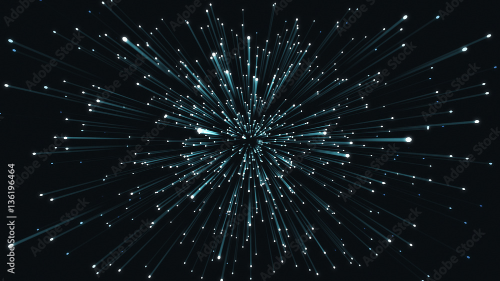 Fototapety, obrazy: Animation exploding particles blue and black loop able. 3D rendering