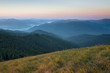 Magic morning fog in a mountain valley