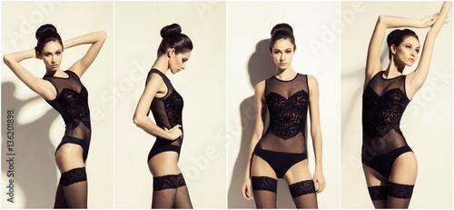 Fotografie, Obraz  Collage of a beautiful, seductive woman in hosiery