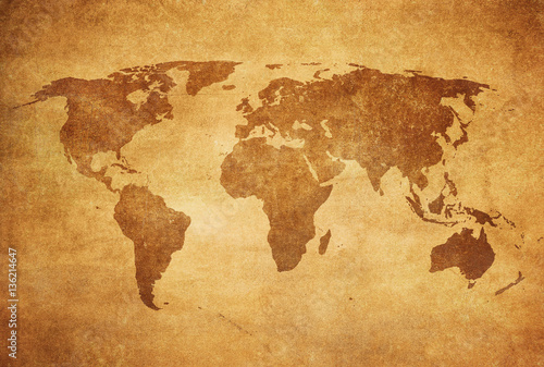 Photo sur Toile Carte du monde grunge map of the world