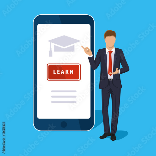Online Learning Mobile Isolated On Blue Vector Vertical Smart