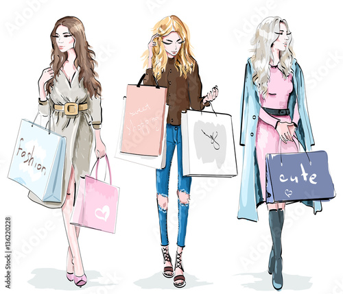 Set of beautiful young girls with shopping bags. Fashion women. Shopping day concept. Stylish sketch. Vector illustration.