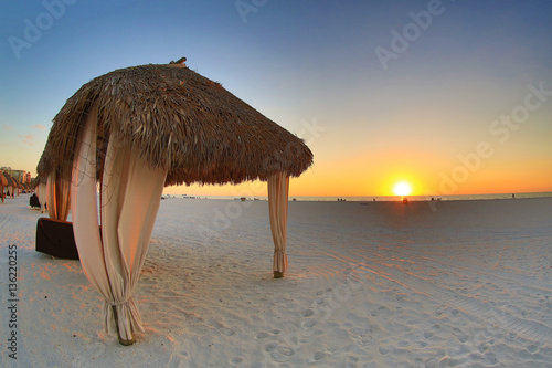 Beach tiki huts in south west Florida