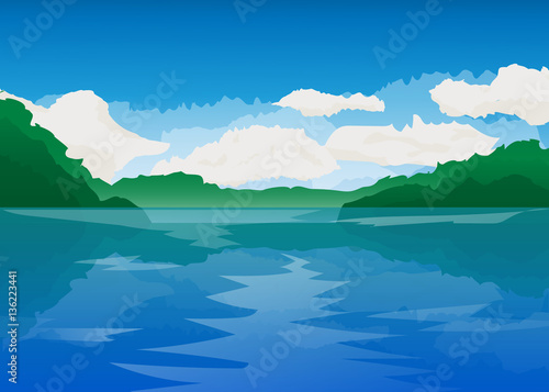 vector flat lake landscape nature banner