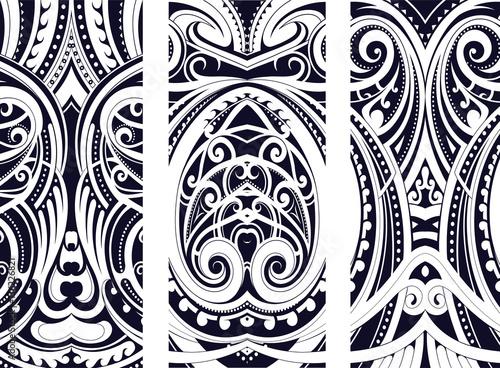 Obraz na plátně Maory style ornament set