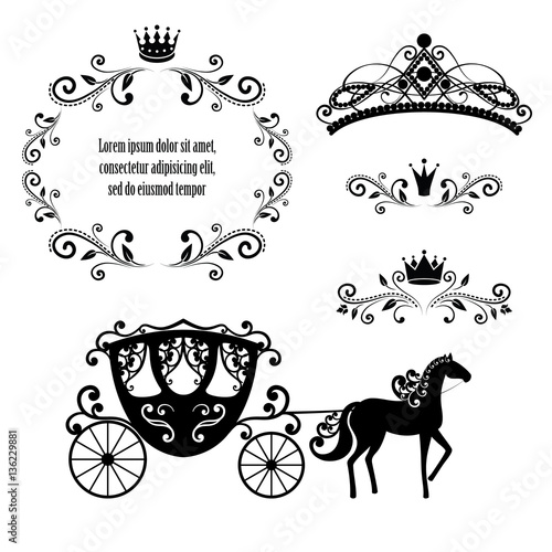 Obraz na plátně Vintage frame with crown, ornamental style diadem and carriage.