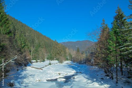 Keuken foto achterwand Turkoois Mount Forest Beautiful winter panorama. Carpathian mountains