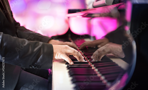 Fotografie, Obraz  Pianist Playing Jazz Or Blues Music With Grand Piano
