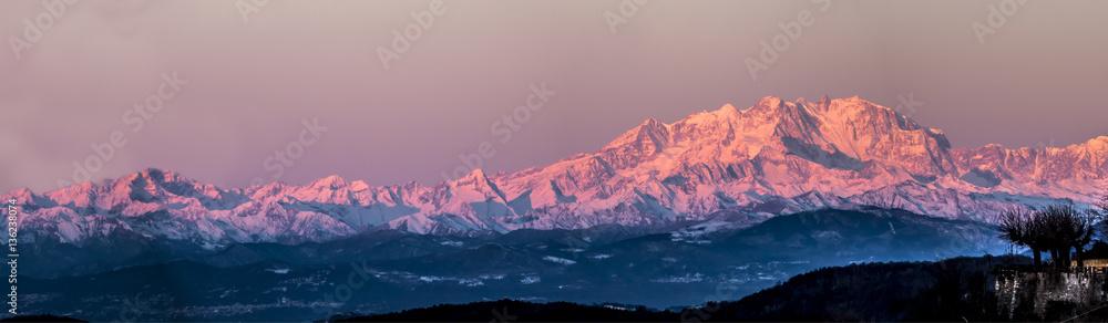 Fototapety, obrazy: Monte Rosa lit by the morning sun