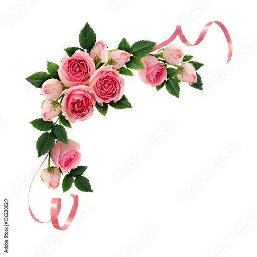 Pink rose flowers and ribbons corner arrangement