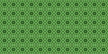 Abstract Green Kaleidoscope Seamless Pattern With Monochrome Tri