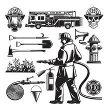Vintage Firefighting Elements Set
