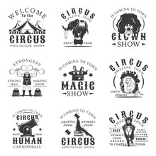 Circus Set Of Vector Vintage Emblems, Labels, Badges And Logos In Monochrome Style On White Background.