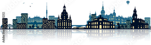 Dresden Skyline Panorama Silhouette Fototapet