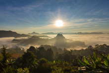Mountains In Morning Clounds In Mae Hong Son 01