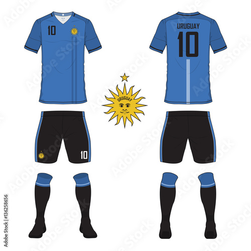 0d020be24 Set of soccer jersey or football kit template for Uruguay national football  team. Front and back view soccer uniform. Sport shirt mock up. Vector ...
