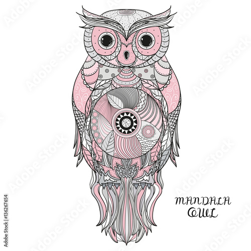 Canvas Prints Owls cartoon Owl. Design Zentangle.