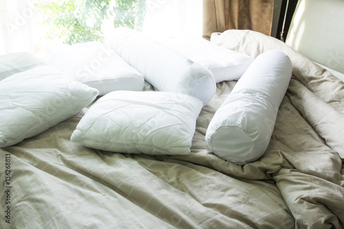Photo Close up pillow with bolster on bed
