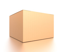 Brown Corrugated Cardboard Box From Side Closeup Angle. Blank, Horizontal, And Rectangle Shape.