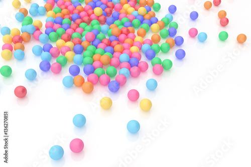 Fototapeta 3D rendering a lot of rubber ball on white background,colorful c obraz na płótnie