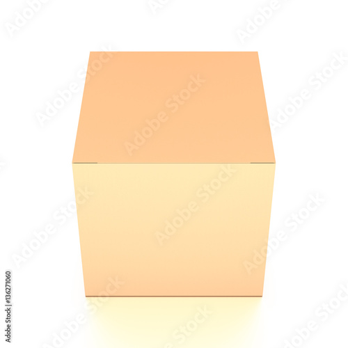 Brown corrugated cardboard box from top front closeup angle