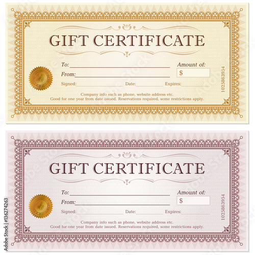 Photo  Certificate gift coupon template