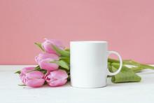 White Coffee Mug With Pink Tul...