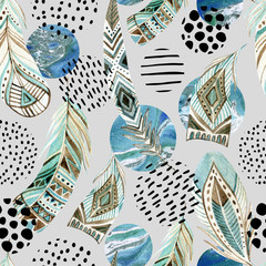 Panel Szklany Boho Watercolor tribal feathers seamless pattern with abstract marble and grunge shapes