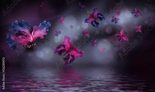 Amazing butterfly fairy of flowers, hydrangeas and iris.