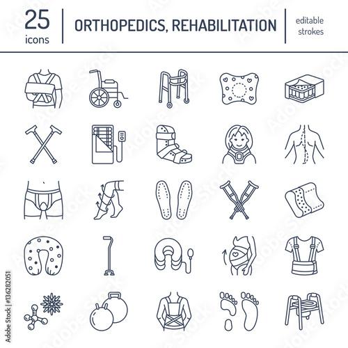 Fotografia Orthopedic, trauma rehabilitation line icons