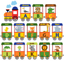 Train Alphabet With Animals A To M  - Vector Illustration, Eps