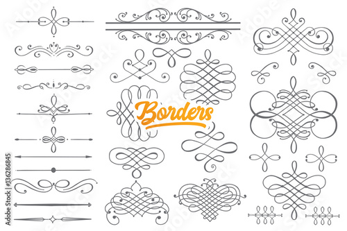 Photo Hand drawn borders doodle set with orange lettering in vector