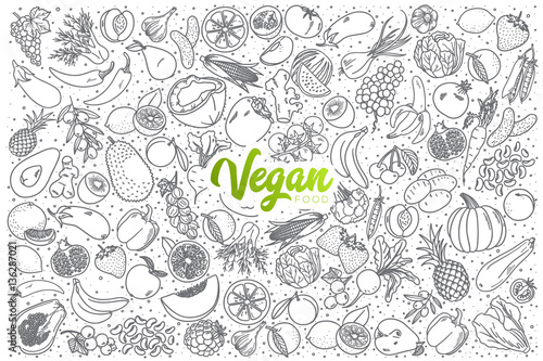 Hand drawn vegan food doodle set with green lettering in vector - 136287021