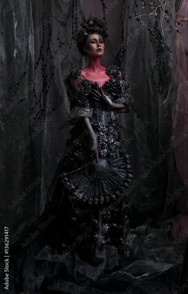 Photo Art Print Dark Queen In Black Fantasy Costume On