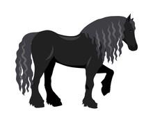 Draft Horse Vector Illustration In Flat Design