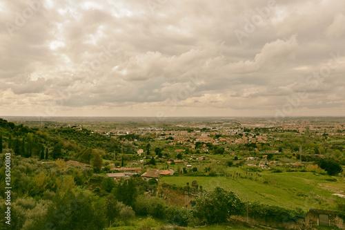 Staande foto Bleke violet Summer storm clouds over the horizon of the european valley