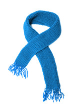 Blue Knitted Scarf On A White ...