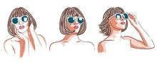 Vector Illustration Of Beautiful Woman Wearing White Sunglasses