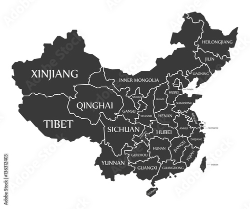 China Map labelled black illustration