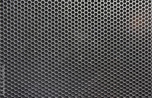 Valokuvatapetti Steel grating of loudspeaker ,full frame black grid of a speaker texture