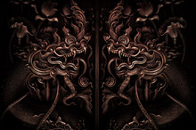 Serpent Naga Carve In Thai Tem...