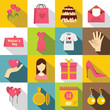 Mothers day icons set, flat style
