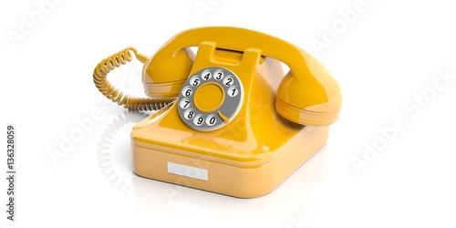 Foto op Canvas Schepselen Yellow old telephone on white background. 3d illustration