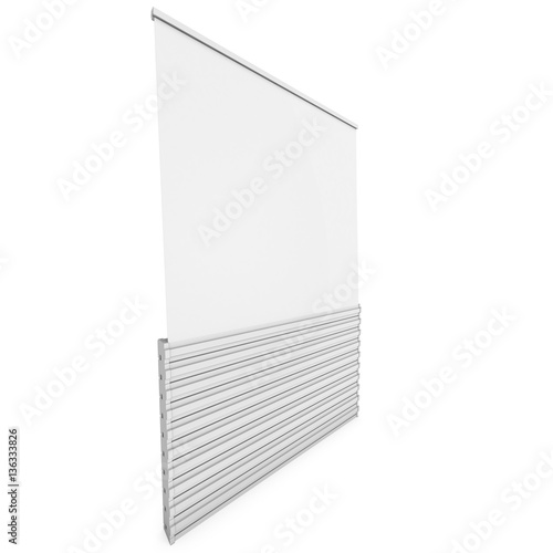 Blank Roll Up Banner Stand  Trade show booth  3d render isolated on