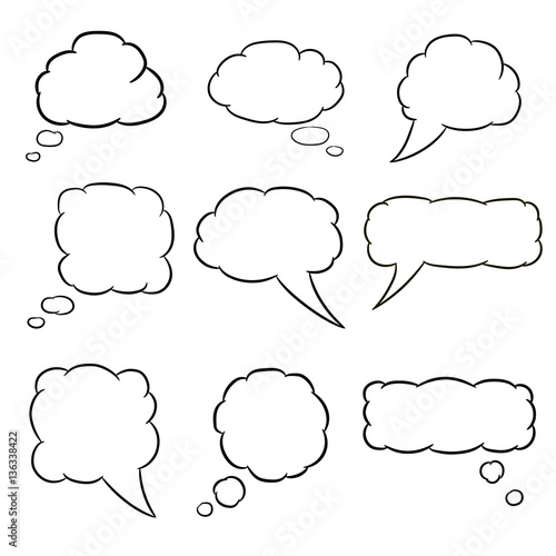 Fotografía  thought cloud set white of vector illustrations