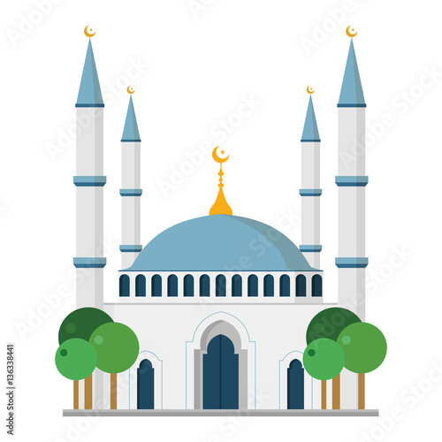 Fotografía Cute cartoon vector illustration of a mosque