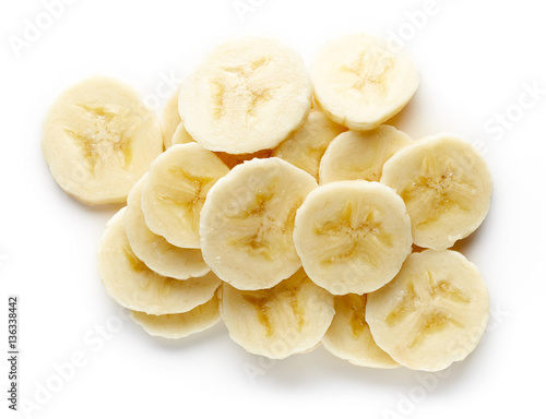 Fotografie, Obraz  Heap of sliced banana from above