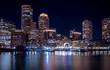 Boston Harbor and Financial District skyline at night - Boston, Massachusetts, USA
