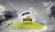 Couple Teddy Bear On Bench With Umbrella Over Raincloud Background. Valentine Background.